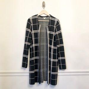 CATO | Black & White Checked Plaid Sweater Coat XL